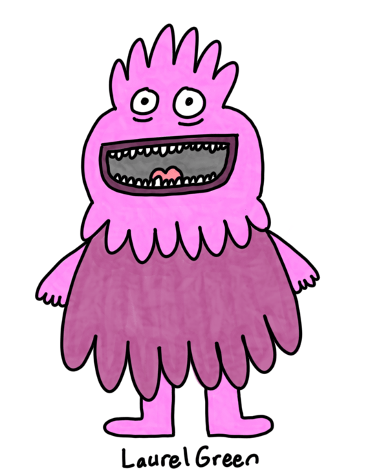 a drawing of a lumpy pink person with a big mouth