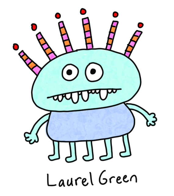 a drawing of a creature with five legs and six stripey spikes coming out of its head