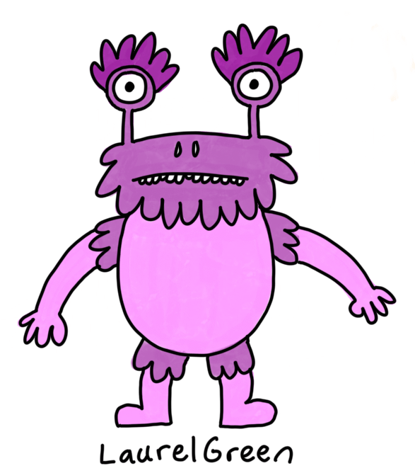 a drawing of a big purple creature with weird eyestalks