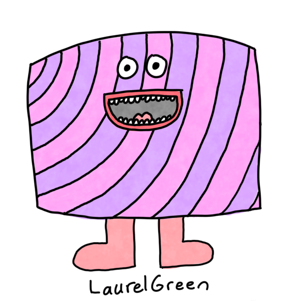 a drawing of a rectangular striped candy critter