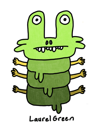 a drawing of a weird green creature that is gripping goo