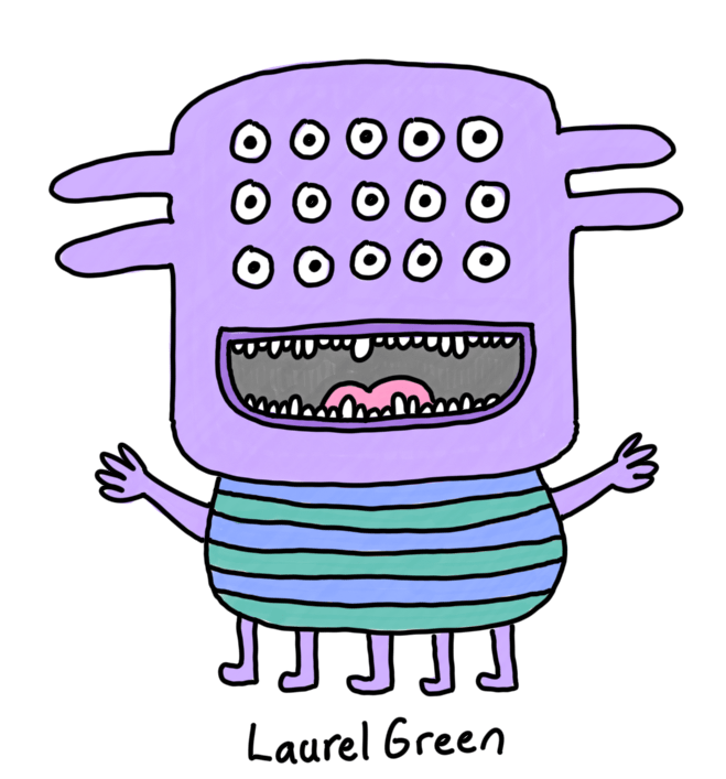 a drawing of a happy creature with fifteen eyes, spikes coming out of its head and five legs