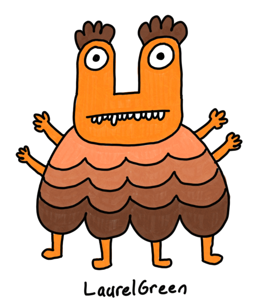 a drawing of a cute brown creature with four arms and four legs