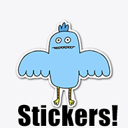 a photo of a blue derpy bird sticker