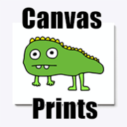 a photo of a canvas print with an image of a derpy dinosaur on it