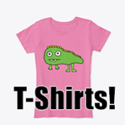 a photo of a women's t-shirt with an image of a derpy dinosaur on it