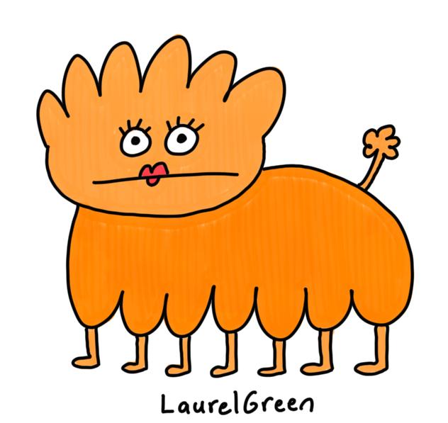 a drawing of a seven-legged mutant lady-dog