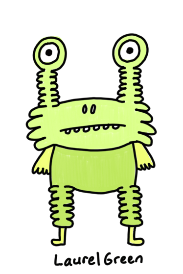 a drawing of a green creature with wrinkly legs and eyestalks