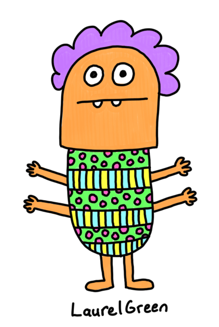 a drawing of a four-armed person wearing an ugly sweater