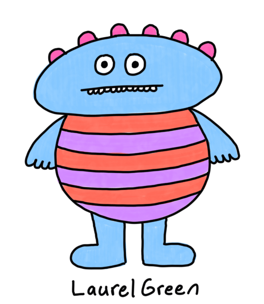 a drawing of a boring fat person wearing a striped shirt