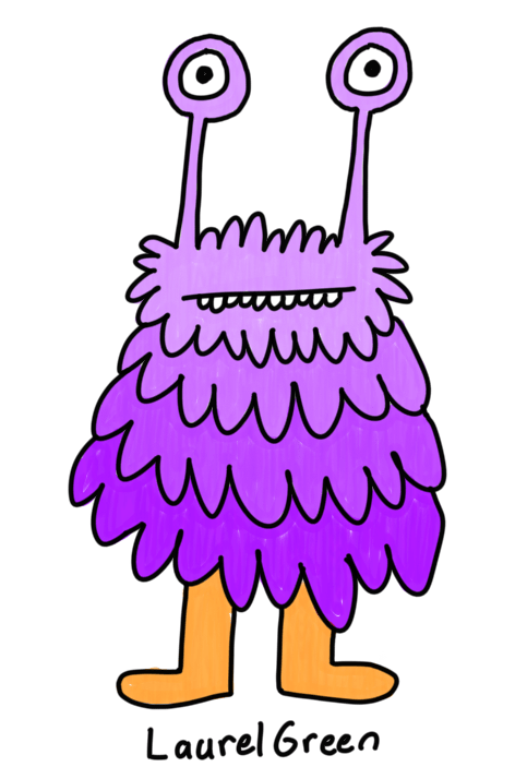 a drawing of a cute purple fuzzy creature with eyestalks