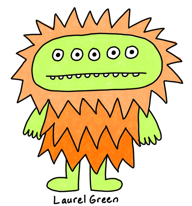 a drawing of a five-eyes monster with orange spikes