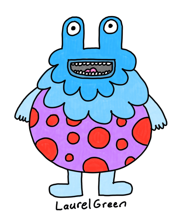 a drawing of a large round creature that is covered in spots
