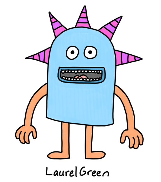 a drawing of a happy creature with five spike sticking out of its head