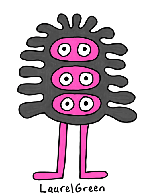 a drawing of a black wavy critter with three faces