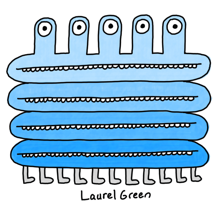 a drawing of a blue creature with five eyestalks, four mouths and eleven legs