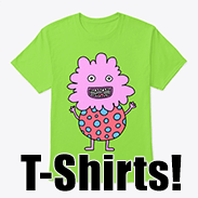 a photo of a green t-shirt with an image of a spotty, pink, derpy monster on it