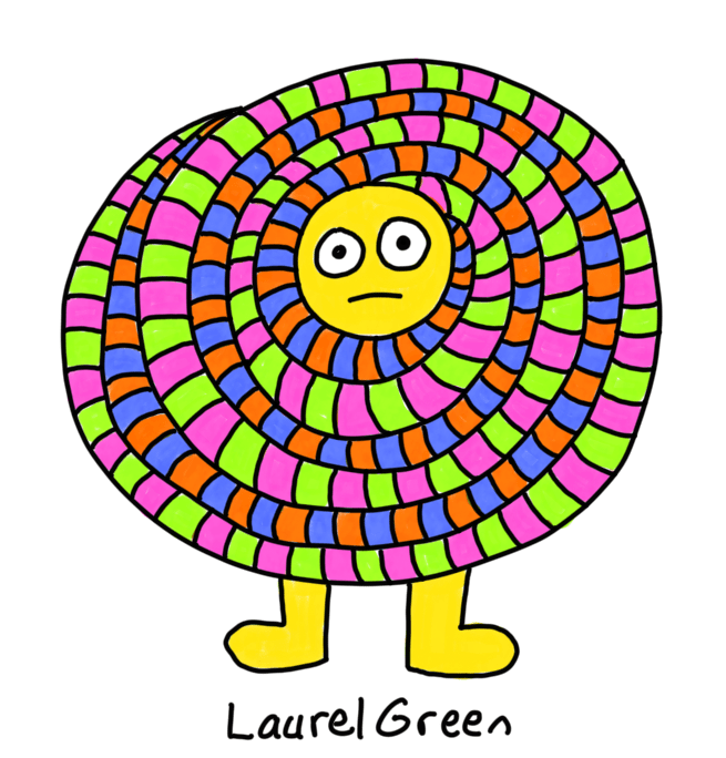 a drawing of a round creature whose body is made of stripey spirals