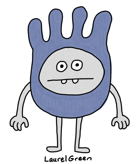 a drawing of a grey person with a lumpy head