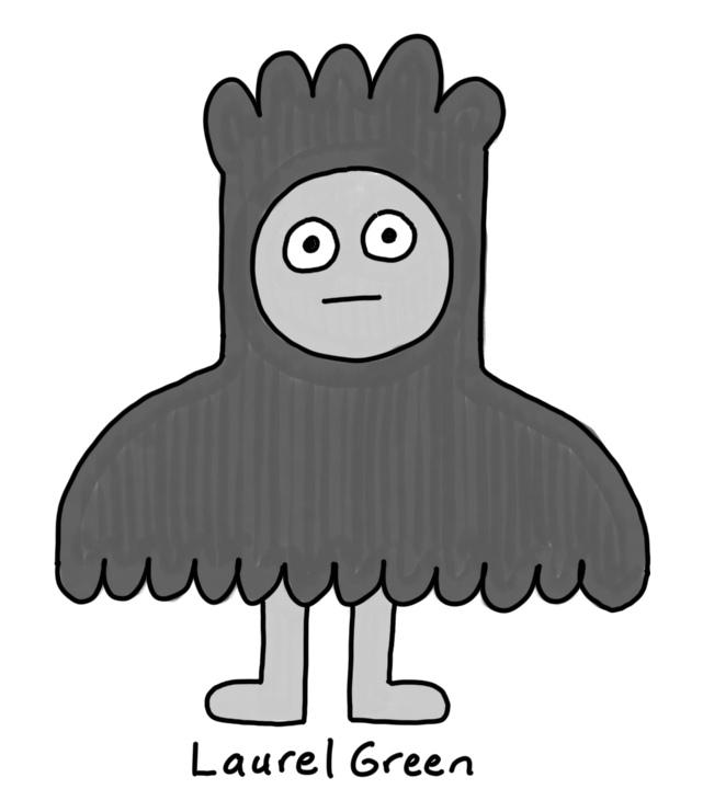 a drawing of a person wearing a black cloak