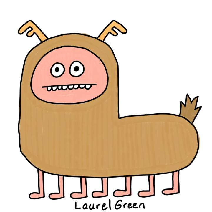 a drawing of a deer creature with antlers and seven legs