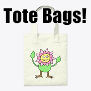 a photo of a canvas tote bag with an image of an anthropomorphic flower person on it
