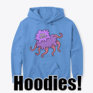 a photo of a blue hooded sweatshirt with a picture of a purple fuzzy creature with pink tentacles on it