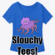 a photo of a blue t-shirt with a doodle of a purple fuzzy creature with tentacles on it