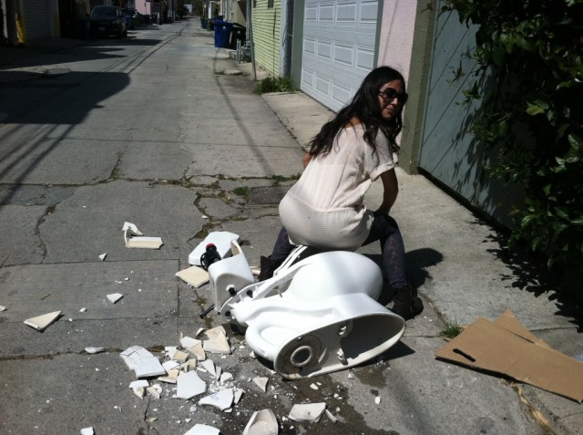 broken toilet in venice beach
