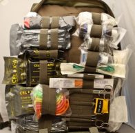 A loaded first aid kit with medical supplies for trauma,burns, sprains and strains and other medical issues