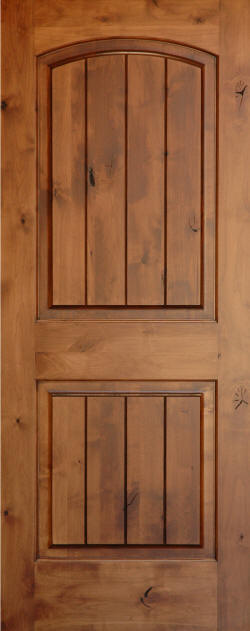 Knotty Alder Arch Top 2 Panel V Grooved Doors Homestead