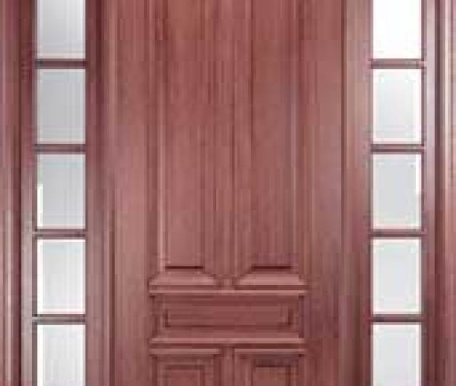 Mahogany  Panel Solid Wood Exterior Door With Transom And Sidelites