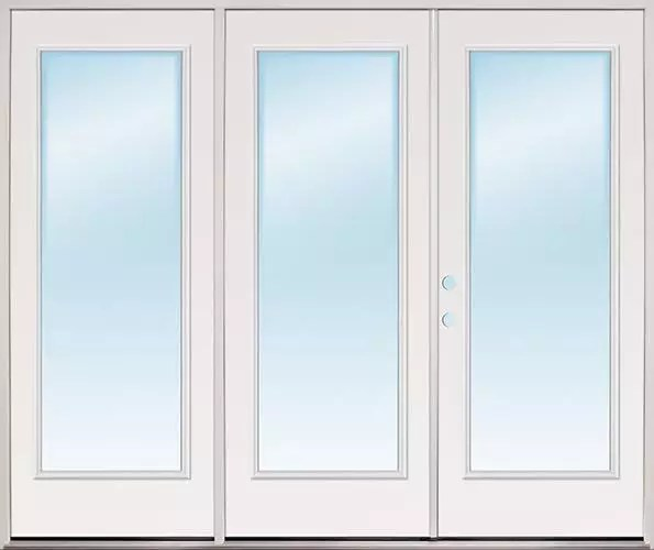 8 0 wide full lite fiberglass patio prehung triple door unit