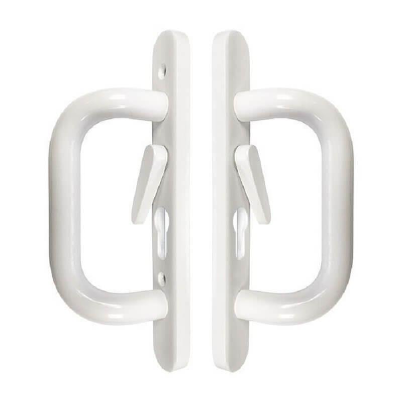 schlegel style metal patio door handle white