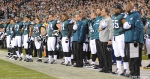 PHILADELPHIA, PA - OCTOBER 30:  The Philadelphia Eagles observe the National Anthem during the game against the Dallas Cowboys at Lincoln Financial Field on October 30, 2011 in Philadelphia, Pennsylvania. The Eagles won 34-7. (Photo by Drew Hallowell/Philadelphia Eagles/Getty Images) *** Local Caption ***