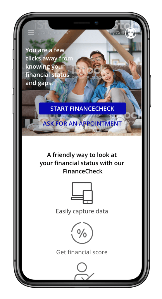 financial simulator, landing page