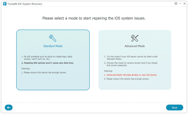 Tuneskit iOS repair software 02