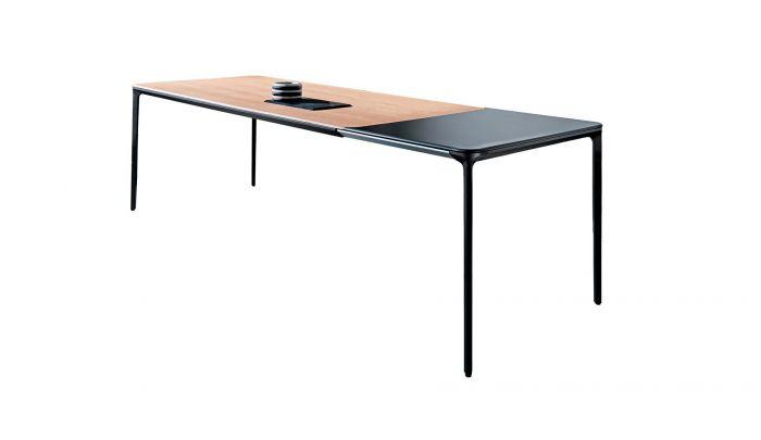 sovet slim extensible dining table black oak