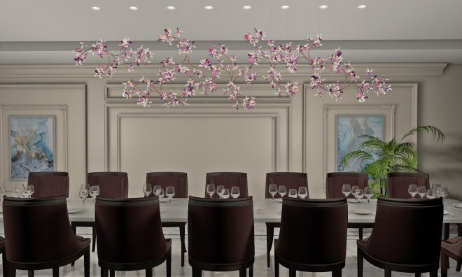 EDEN-pink-violet-copper_chandelier_by-WINDFALL_lifestyle_dining-room