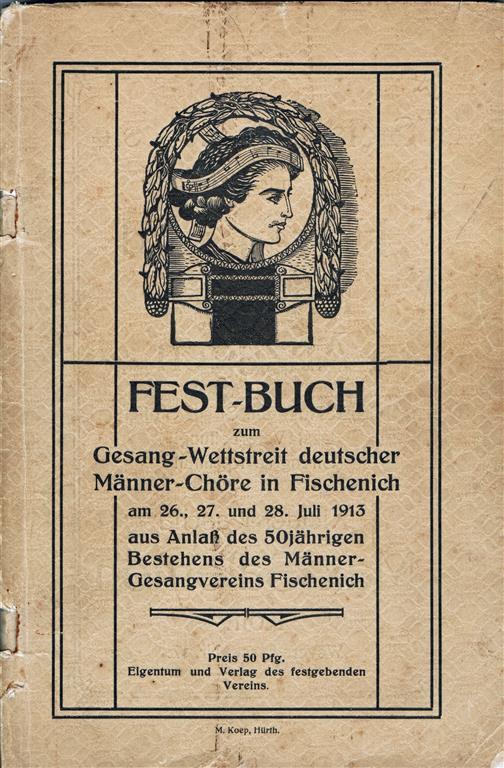 Vorderseite Festheft aus dem Jahr 1913 (Foto von Jakob Klug)