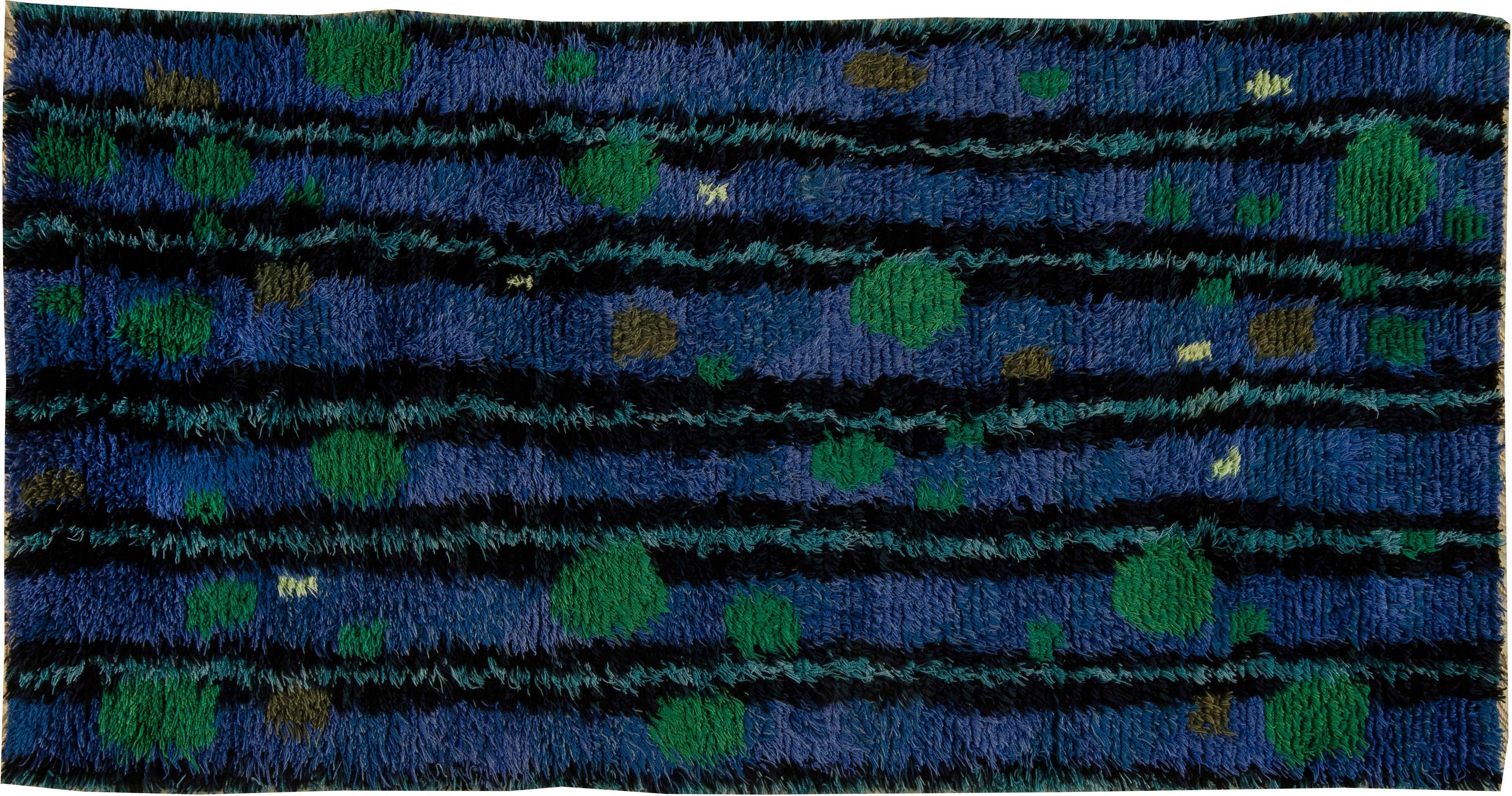 Mid Century Modern Swedish Rya Rug In Lapis Blue Emerald Green And Black Bb6396 By Dlb