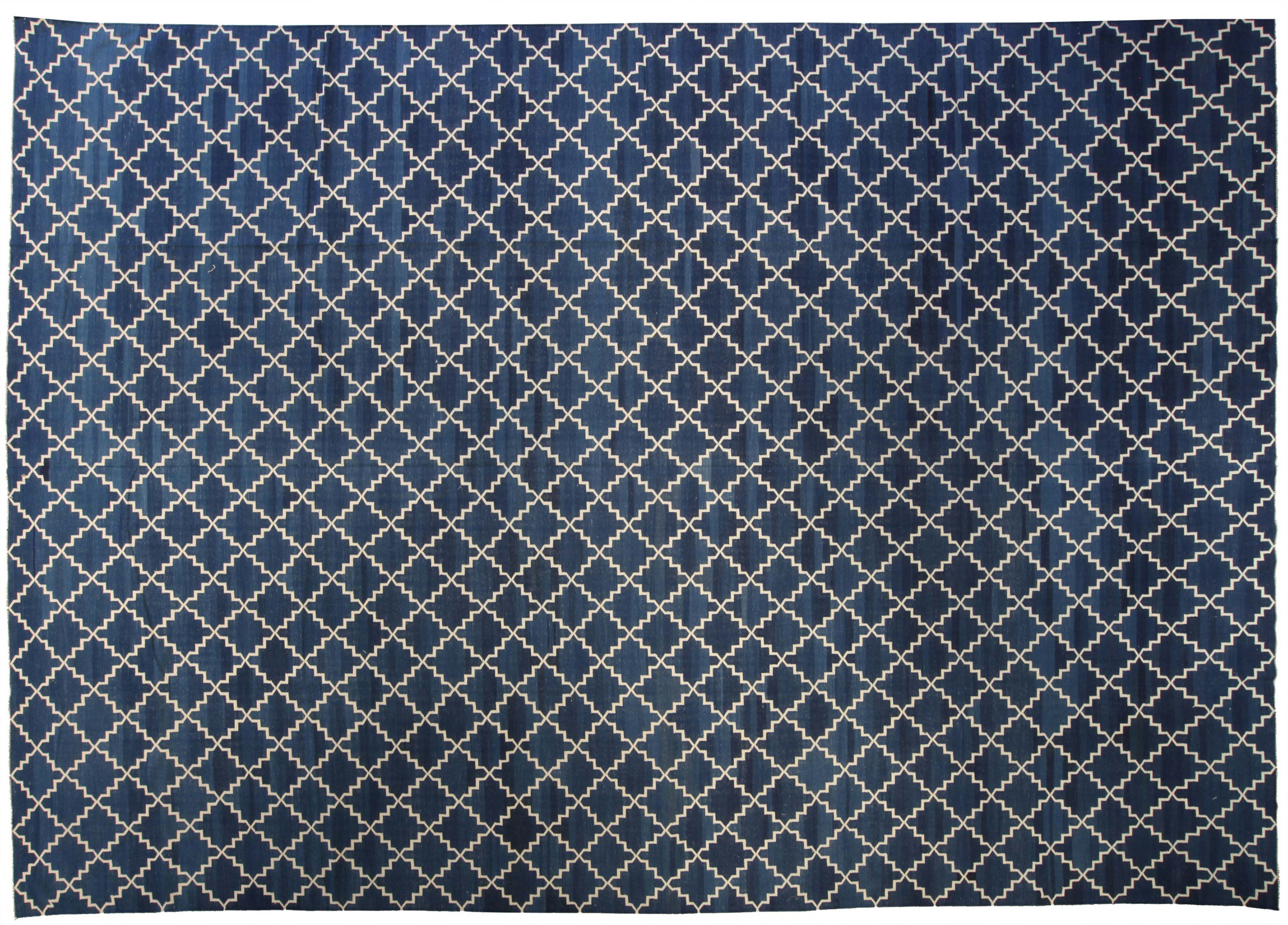 Contemporary Dhurrie Deep Blue And White Handwoven Cotton Rug N10389 By Dlb