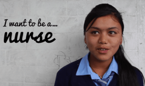 "Prakriti Shrestha. ""I want to be…a nurse."""