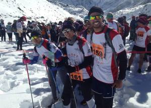 The team at the start of the Tenzing Hillary Everest Marathon. (From left Bimala, Rekha and Arbin.)