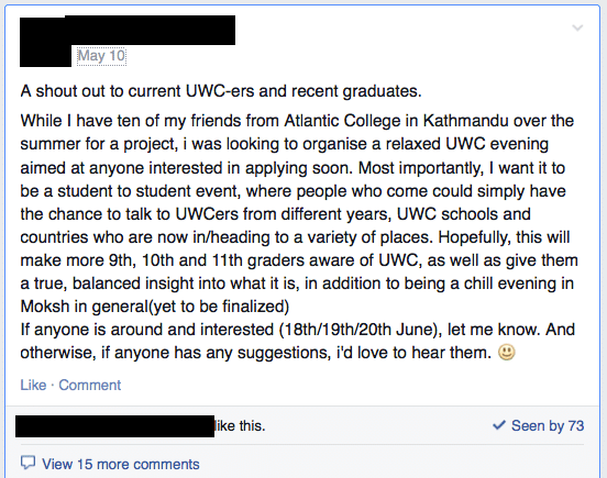 The post about gathering at a popular restaurant/bar in Kathmandu to provide information to students interested in applying for UWC scholarships.