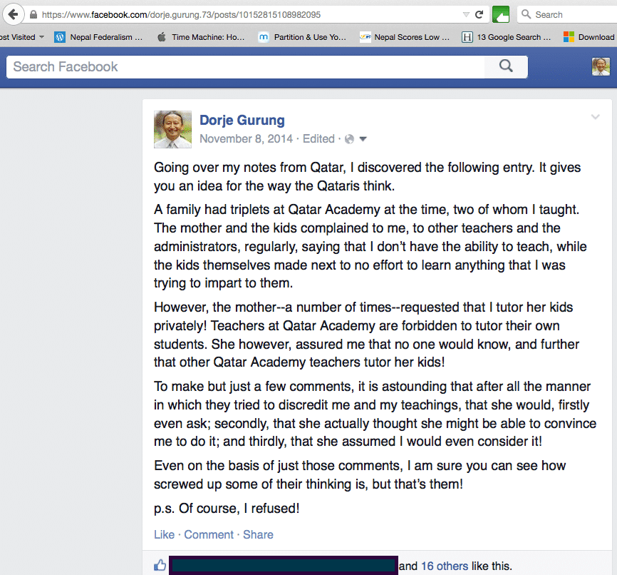 The above story I posed on Facebook is just one of many examples that would boggle anyone's mind about the Qataris.