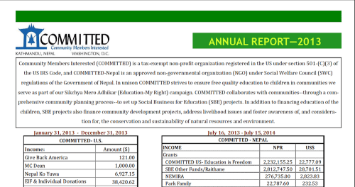 COMMITTED's Annual Report: Fiscal Year 2013-14