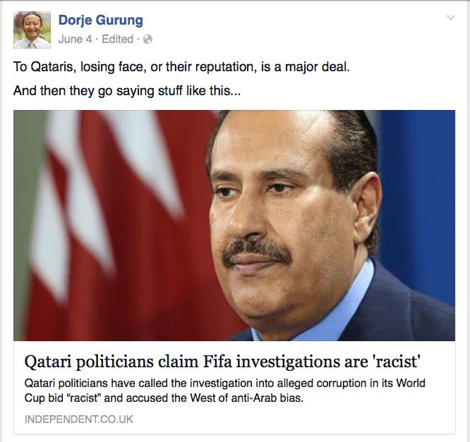 Qatar politician FIFA investigation racism