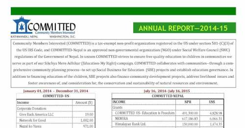 COMMITTED's Annual Report for Fiscal Year 2014-15