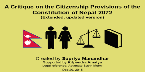 Nepalese Constitution 2072: Discrimination Against Women on Citizenship Rights